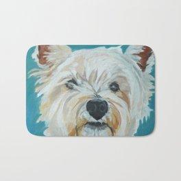Jesse the Beautiful West Highland White Terrier Dog Portrait Bath Mat