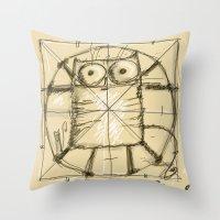 da vinci Throw Pillows featuring Kot da Vinci by Katja Main