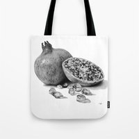 pomegranate Tote Bags featuring Pomegranate by Darkensian