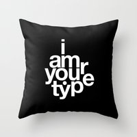 helvetica Throw Pillows featuring HELVETICA! by THE USUAL DESIGNERS