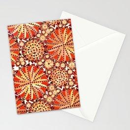 Tribal Mandala Print, Rust Orange and Brown Stationery Cards