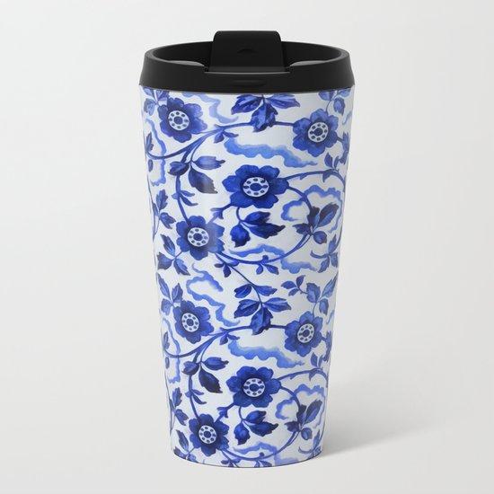 Azulejos blue floral pattern Metal Travel Mug