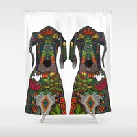 great dane Shower Curtains featuring Great Dane love white by Sharon Turner