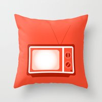 tv Throw Pillows featuring television by brittcorry