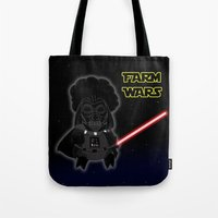 darth Tote Bags featuring Darth by Afro Pig