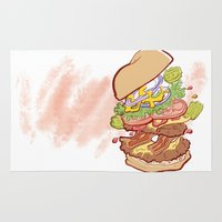hamburger Area & Throw Rugs featuring Hamburger Time by hollypop