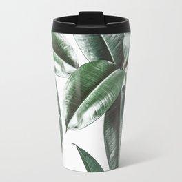 Tropical Leaves Pattern   Dark Green Leaves Photography Travel Mug
