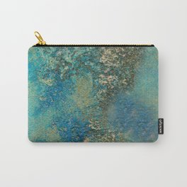 Blue And Gold Modern Abstract Art Painting Carry-All Pouch