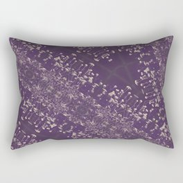 Queen Anne's Lace Duotone Botanical Antique Ivory on Faded Aubergine Rectangular Pillow