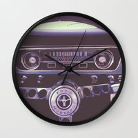 mustang Wall Clocks featuring Mustang by Jeremiah Locke