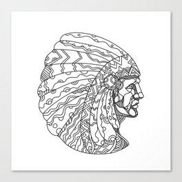 American Plains Indian with War Bonnet Doodle Canvas Print