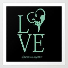 Love Kitty Valentines Love Art Print