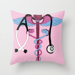 medical caduceus and stethoscope, pink Throw Pillow