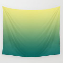 Yellow Lime Quetzal Green Ombre Gradient Pattern Wall Tapestry