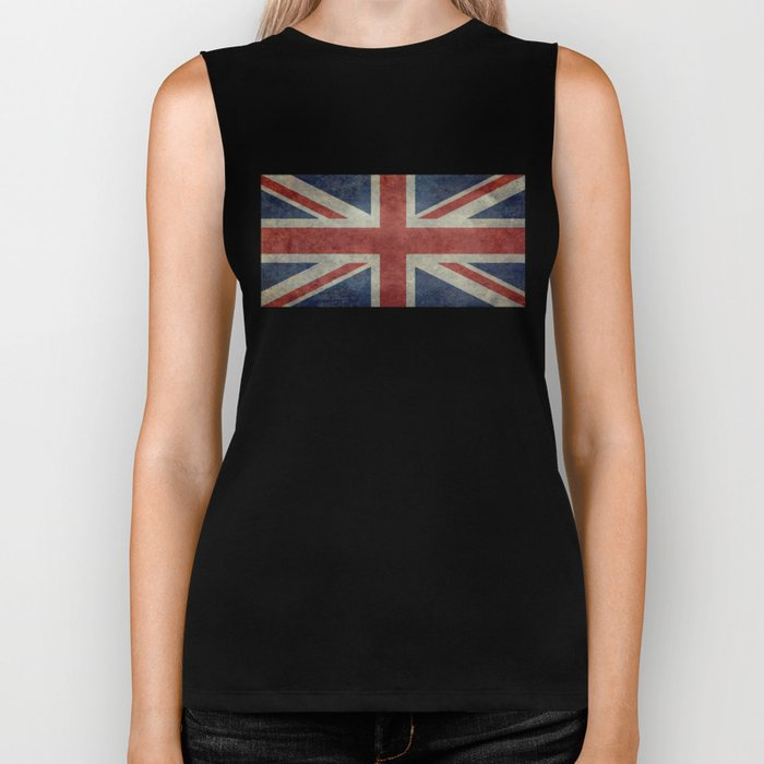 UK Flag, Dark grunge 1:2 scale Biker Tank