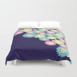 Happy Flower Faces Duvet Cover