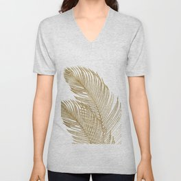 Palm Leaves Finesse Line Art with Gold Foil #2 #minimal #decor #art #society6 Unisex V-Neck