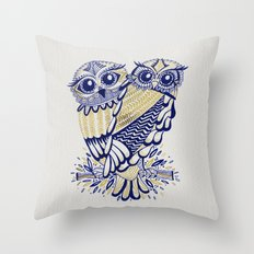 Owls – Navy & Gold Throw Pillow