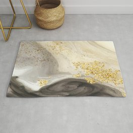 Marbled Paint Swirls in Cream, Black and Gold Rug
