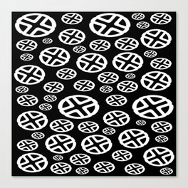 Scattered Circles - Black and White Pattern of Circles and Crosses Canvas Print