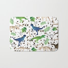 Watercolor Dinosaurs Bath Mat