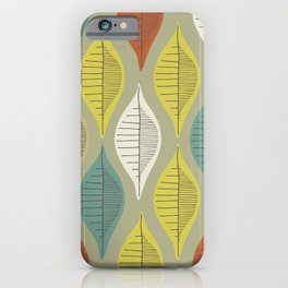 Mid Century Leaf Pattern iPhone Case