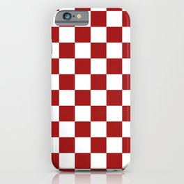 Cranberry Red and White Checkerboard Pattern iPhone Case