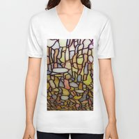 stained glass V-neck T-shirts featuring Stained Glass by Debra Ulrich
