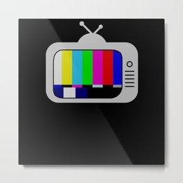 90s TV Television No Signal Metal Print