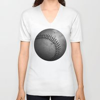 baseball V-neck T-shirts featuring Baseball by Christy Leigh