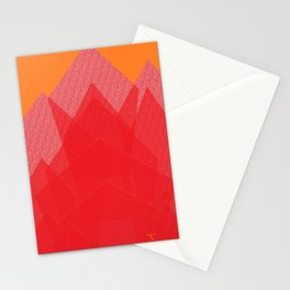 Colorful Red Abstract Mountain Stationery Cards