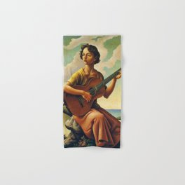 Classical Masterpiece 'Jesse with Guitar' by Thomas Hart Benton Hand & Bath Towel