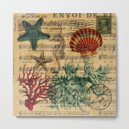 french botanical art music notes starfish seashell Metal Print