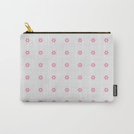 Pink Flower Hexagon Tile Pattern Carry-All Pouch