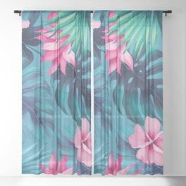 Tropical flowers 2 Sheer Curtain