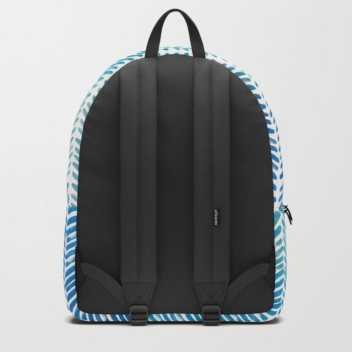 Handpainted Herringbone Chevron pattern-small-aqua watercolor on white Backpack