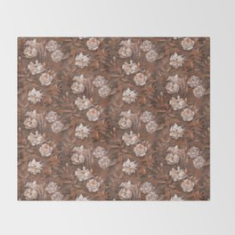 White roses in earth shades Throw Blanket