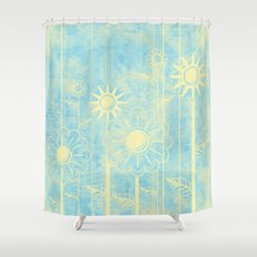 retro flowers in blue and yellow Shower Curtain