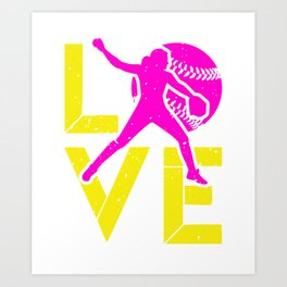 LOVE Sport blue Silhouette Softball Player Art Print