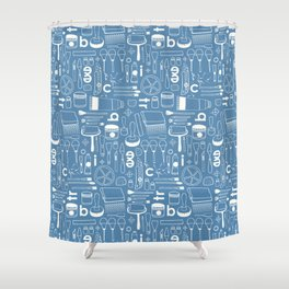 BIENNALE_COMBO_BLEU_OFF_WHITE Shower Curtain