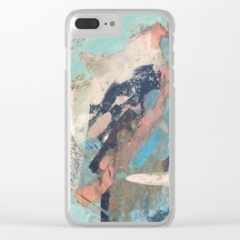 Cotton Candy: a colorful abstract mixed media piece in pastel green, pink, blue, and white Clear iPhone Case