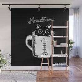 Hand Drawing Meowffee Wall Mural