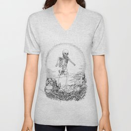 Death and Harmonica Unisex V-Neck