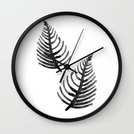 Black Watercolor Leaf Wall Clock