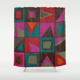 squares of colors and shreds Shower Curtain