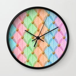 Colored Leaf Skeleton Pattern Wall Clock