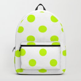 Polka Dots - Fluorescent Yellow on White Backpack