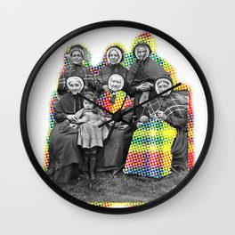 THE SIX GRANDMOTHERS IN PIXELATED PLAID Wall Clock