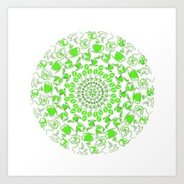 Green coffee mandala Art Print