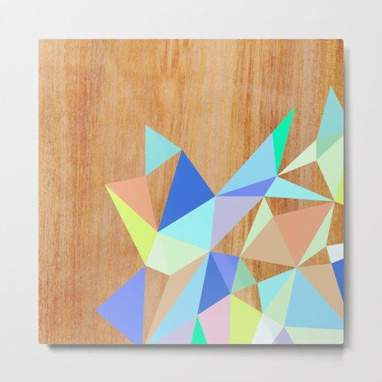Wooden Geo Aqua Metal Print
